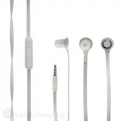 Гумирани handsfree слушалки марка Wallytech с плосък кабел и бутони за регулиране на звука – цвят бял