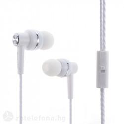 Handsfree слушалки с подсилен кабел – цвят бял