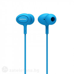 Гумирани handsfree слушалки марка Remax - цвят син