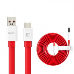 Плосък кабел тип USB към USB Type-C марка ONEPLUS модел DASH дължина 1.5 м – цвят червен