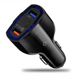 Зарядно за кола с 3 USB изхода - QC 3.0 USB, USB изход, Type-C изход - цвят черен