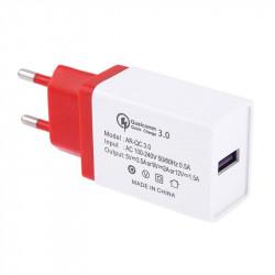 Универсално зарядно с USB Quick Charge 3.0 изход - цвят червен