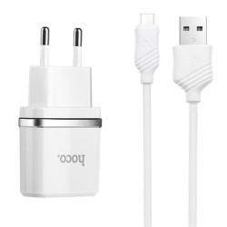 Комплект универсално зарядно 5V/1А и кръгъл кабел тип USB към micro USB марка HOCO - бял