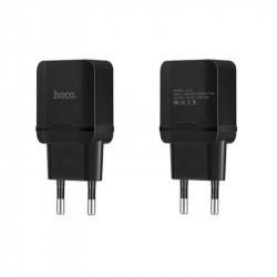 Универсално зарядно марка HOCO с USB изход 2.4 A – цвят черен