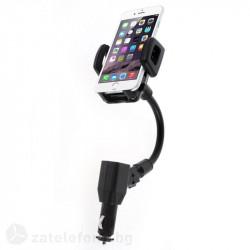 2 в 1 стойка и зарядно за кола с два USB изхода и гъвкаво метално рамо