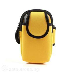 Спортна лента за ръка от неопрен тип джоб за телефон с размери до 132x80 – цвят жълт