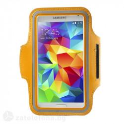 Спортна лента за ръка от неопрен за телефон с размери до 144x80мм – цвят оранжев