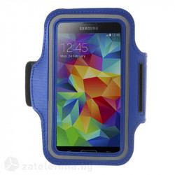 Спортна лента за ръка от неопрен за телефон с размери до 144x80мм – цвят син
