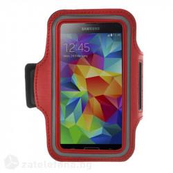 Спортна лента за ръка от неопрен за телефон с размери до 144x80мм – цвят червен