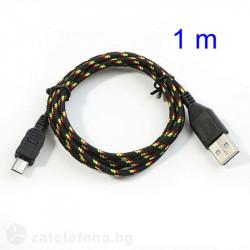 Плетен кабел тип USB към micro USB – цвят черен
