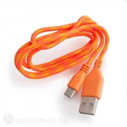 Плетен кабел тип USB към micro USB – цвят оранжев
