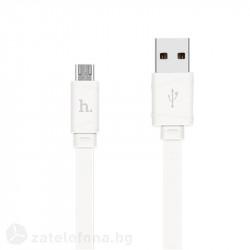 Плосък кабел тип USB към micro USB марка HOCO – цвят бял