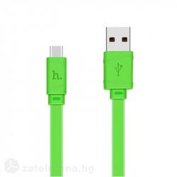 Плосък кабел тип USB към USB Type-C марка HOCO – цвят зелен