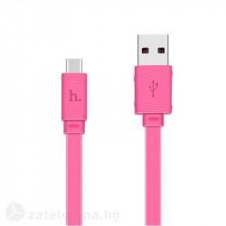 Плосък кабел тип USB към USB Type-C марка HOCO – цвят ярко розов