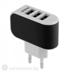 Универсално зарядно с три USB изхода 3.1А - цвят черен