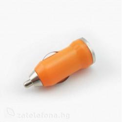 Зарядно за кола с USB изход - цвят оранжев