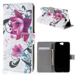 Кожен калъф тип портмоне за HTC One A9 - две цветя