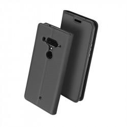 Тънък калъф страничен flip марка DUX DUCIS за HTC U12 Plus  – тъмно сив