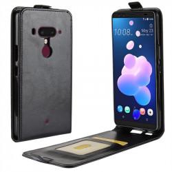 Кожен калъф flip за HTC U12 Plus - черен