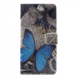 Кожен калъф тип портмоне за Huawei Mate 20 Pro - синя пеперуда