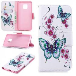 Калъф страничен флип за Huawei Mate 20 Pro - зелени пеперуди