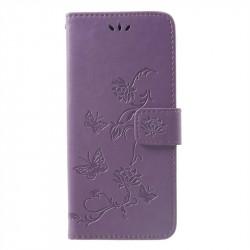 Кожен калъф тип портмоне с цветя и пеперуди за Huawei Mate 20 Pro - лилав