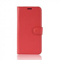 Кожен калъф тип портмоне за Huawei Y6 2019 - червен
