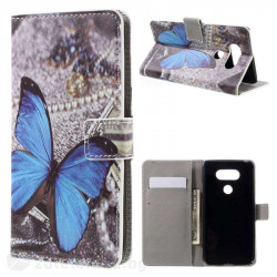 Кожен калъф тип портмоне за LG G5 - синя пеперуда