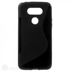 Силиконов калъф за LG G5 със S-образен дизайн - черен