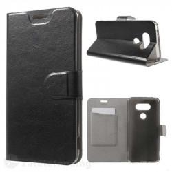 Кожен калъф страничен флип с гладка кожа за LG G5 – черен