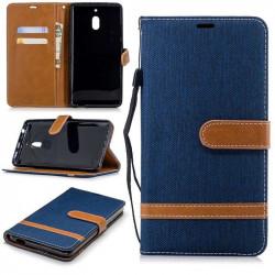 Калъф страничен флип от кожа и текстил за Nokia 2.1 - син