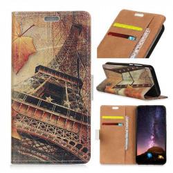 Кожен калъф тип портмоне за Nokia 2.1 - айфеловата кула