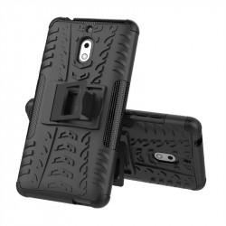 Двупластов гръб със стойка за Nokia 2.1 - черен