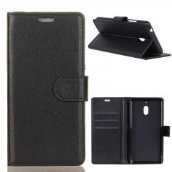 Кожен калъф тип портмоне с кръгло капаче за Nokia 2.1 - черен