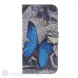 Кожен калъф тип портмоне за Samsung Galaxy J3 2017 - синя пеперуда