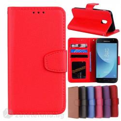 Кожен калъф тип портмоне за Samsung Galaxy J3 2017 - червен