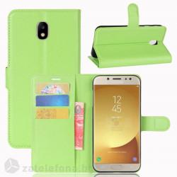 Кожен калъф тип портмоне за Samsung Galaxy J7 2017 - зелен