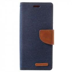 Калъф страничен флип модел GOOSPERY от кожа и текстил, марка Mercury за Samsung Galaxy S9 - тъмно син