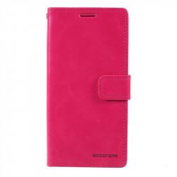 Кожен калъф тип портмоне модел Blue Moon, марка Mercury за Samsung Galaxy A40 - ярко розов