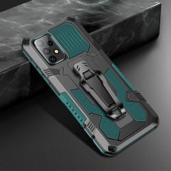 Хибриден гръб със стойка и щипка за колан за Samsung Galaxy A52 - зелен