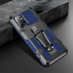 Хибриден гръб със стойка и щипка за колан за Samsung Galaxy A72 - син