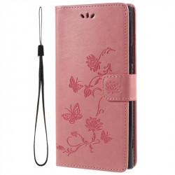 Кожен калъф тип портмоне с цветя и пеперуди за Sony Xperia XA2 Ultra - розов
