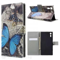 Кожен калъф тип портмоне за Sony Xperia XZ - синя пеперуда