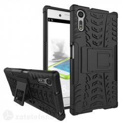 Двупластов калъф със стойка за Sony Xperia XZ - черен