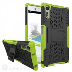 Двупластов калъф със стойка за Sony Xperia XZ - зелен