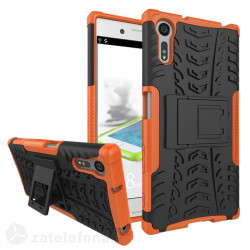 Двупластов калъф със стойка за Sony Xperia XZ - оранжев