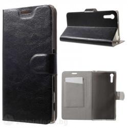 Кожен калъф страничен флип с гладка кожа за Sony Xperia XZ – черен