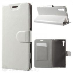 Кожен калъф страничен флип с гладка кожа за Sony Xperia XZ – бял