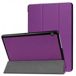 Кожен калъф със сгъващ се капак за Huawei MediaPad T3 10 инча - лилав