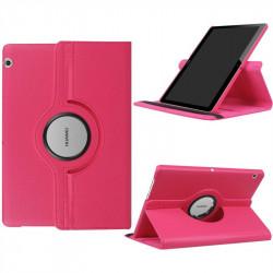 Кожен калъф за Huawei MediaPad T3 10 инча с въртяща поставка - ярко розов